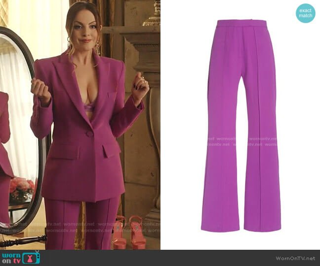 Rene Stretch Crepe Flared Trousers by Alex Perry worn by Fallon Carrington (Elizabeth Gillies) on Dynasty
