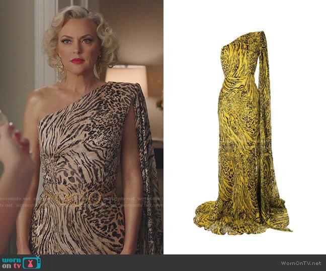 Rhett Animal-Print Cape-Sleeve Gown by Alex Perry worn by Alexis Carrington (Elaine Hendrix) on Dynasty