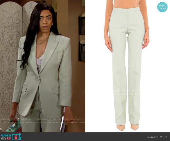 Alexander McQueen Pants in Light Green worn by Zoe (Kiara Barnes) on The Bold & the Beautiful