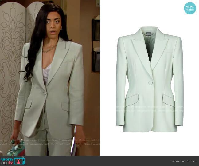 Alexander McQueen Sartorial Jacket in Light Green worn by Zoe (Kiara Barnes) on The Bold & the Beautiful