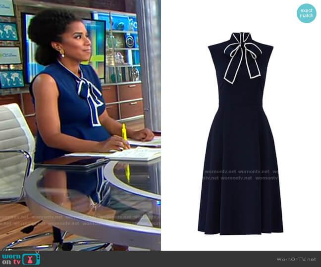 Alexia Admor Navy Tie Neck Dress worn by Adriana Diaz  on CBS Mornings