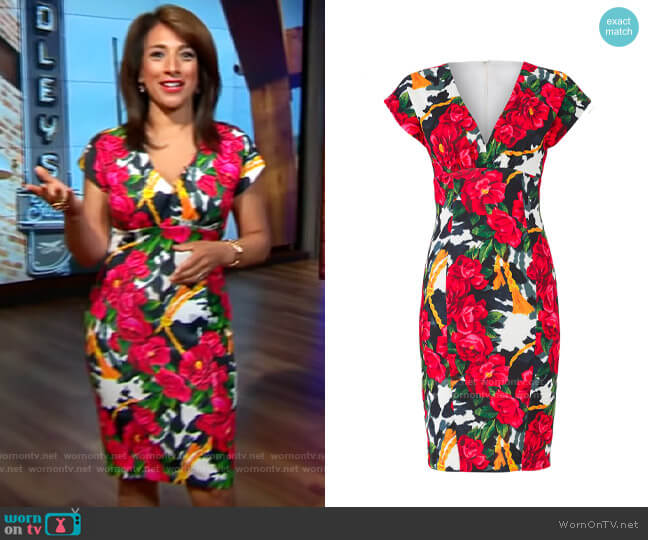 Alexia Admor Botanical Sheath worn by Michelle Miller  on CBS This Morning