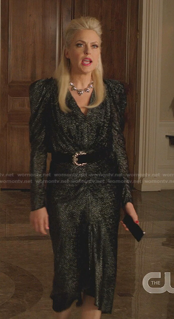 Alexis's metallic ruched dress on Dynasty