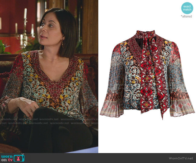 Elaina Tie Neck Blouse by Alice + Olivia worn by Cassandra Nightingale (Catherine Bell) on Good Witch