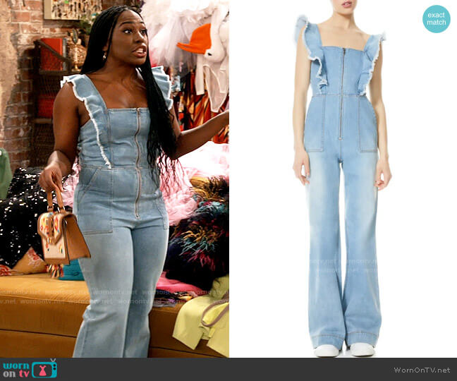 Alice + Olivia Gorgeous Open Back Ruffled Denim Jumpsuit worn by Harper (Laci Mosley) on iCarly