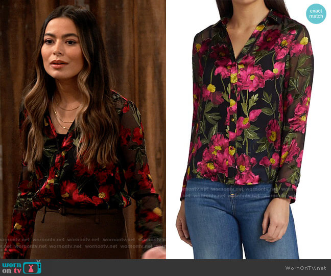 Alice + Olivia Eloise Burnout Floral Shirt  worn by Carly Shay (Miranda Cosgrove) on iCarly