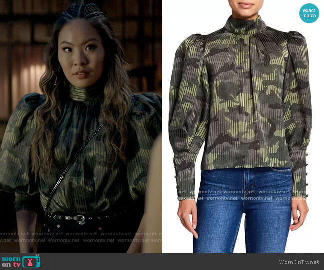 Alice + Olivia Winslet Camouflage Blouse worn by Mary Hamilton (Nicole Kang) on Batwoman