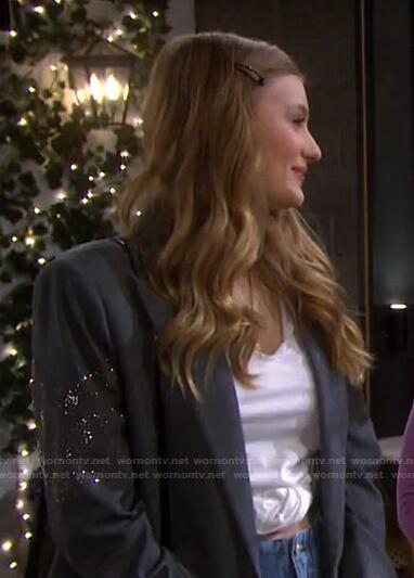 Allie's grey embellished sleeve blazer on Days of our Lives
