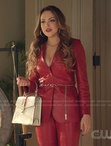 Fallon's red leather blazer and pants on Dynasty
