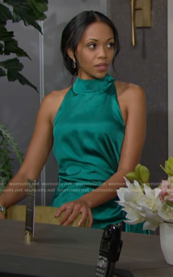 Amanda's green side tie top on The Young and the Restless