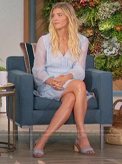 Amanda's blue sheer mini dress on The Talk