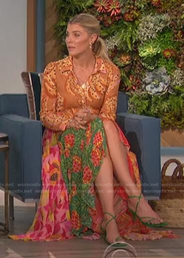Amanda's mixed print maxi dress on The Talk