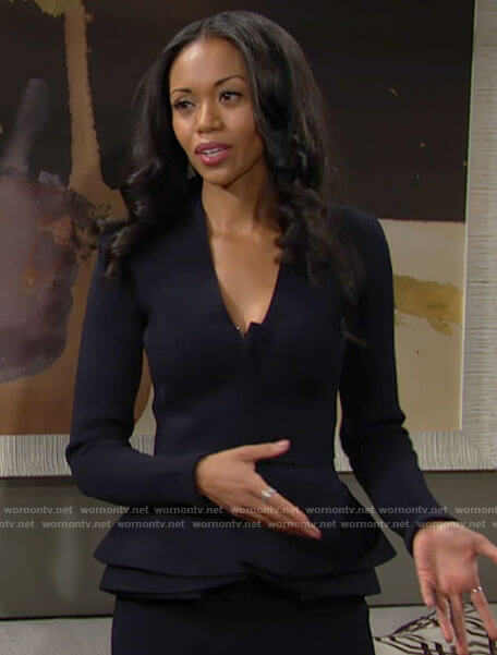 Amanda's navy peplum jacket on The Young and the Restless