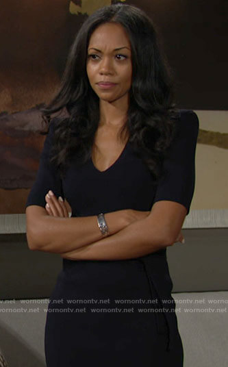 Amanda's navy blue v-neck dress on The Young and the Restless