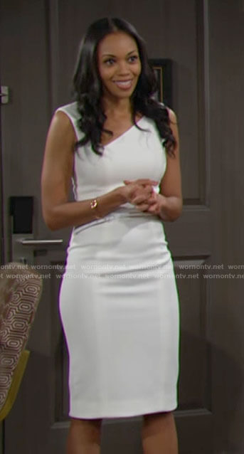 Amanda's white asymmetric neckline dress on The Young and the Restless