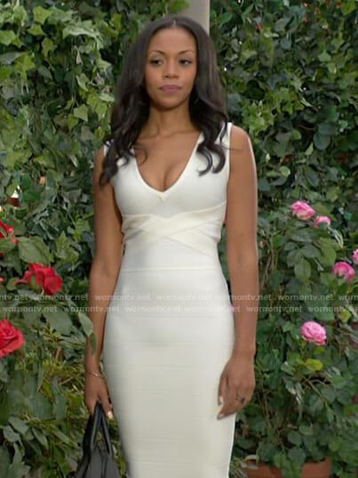 Amanda's white v-neck bandage dress on The Young and the Restless