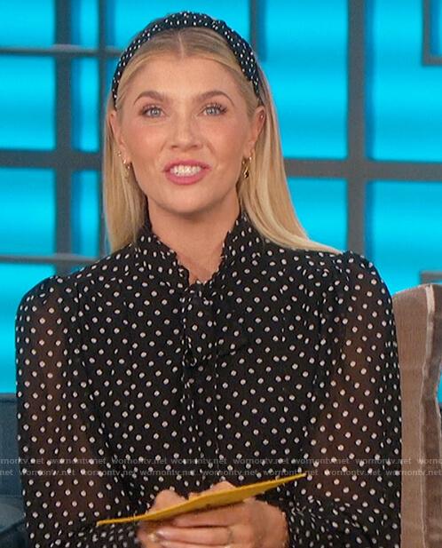Amanda's black poker dot dress on The Talk