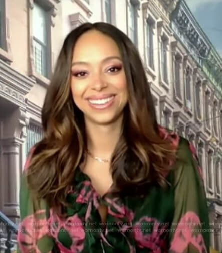 Amber Stevens West's green and pink tie dye ruffle dress on Good Morning America