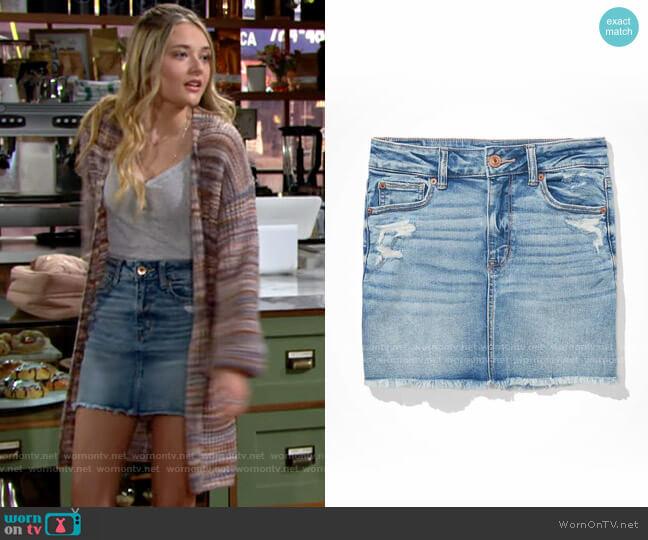 AE High-Waisted Denim Mini Skirt worn by Faith Newman (Reylynn Caster) on The Young & the Restless