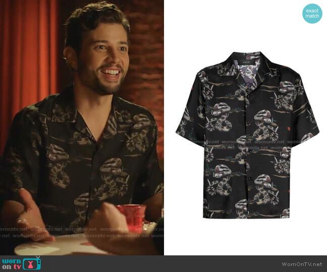 Rattlesnake Short-Sleeve Silk Shirt by Saint Laurent worn by Sam Flores (Rafael de la Fuente) on Dynasty
