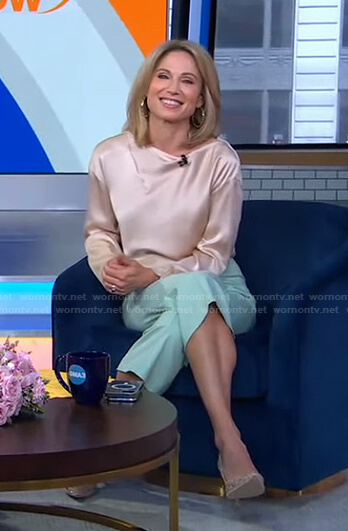 Amy's beige satin top and mint green cropped pants on Good Morning America