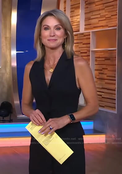 Amy's black sleeveless button front dress on Good Morning America