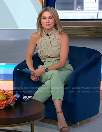 Amy's khaki halter top and green belted pants on Good Morning America