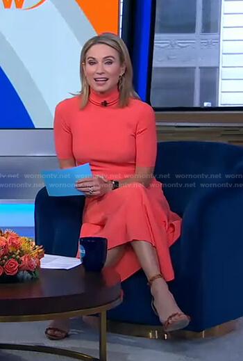 Amy's orange turtleneck ribbed dress on Good Morning America