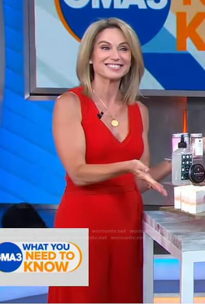 Amy's red v-neck sleeveless jumpsuit on Good Morning America
