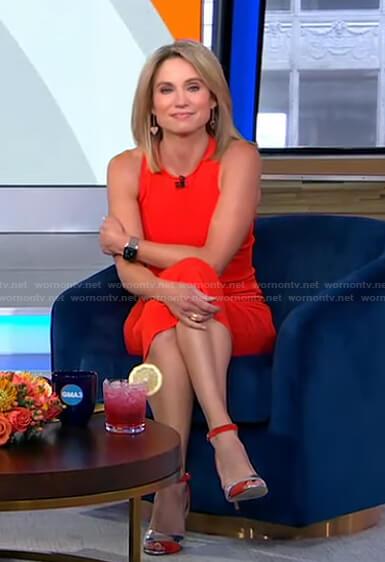 Amy's red sleeveless midi dress on Good Morning America
