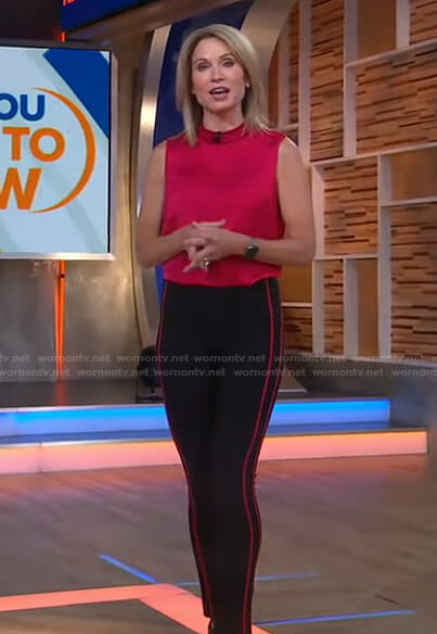 Amy's red sleeveless top and side stripe pants on Good Morning America