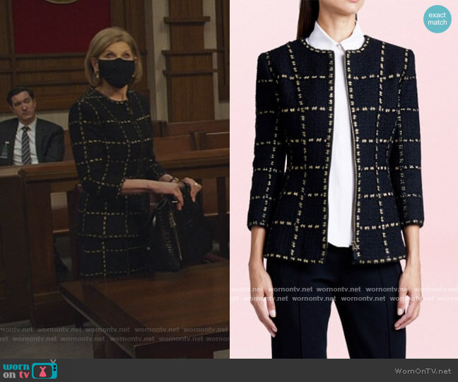 Tweed Jacket by Andrew Gn worn by Diane Lockhart (Christine Baranski) on The Good Fight