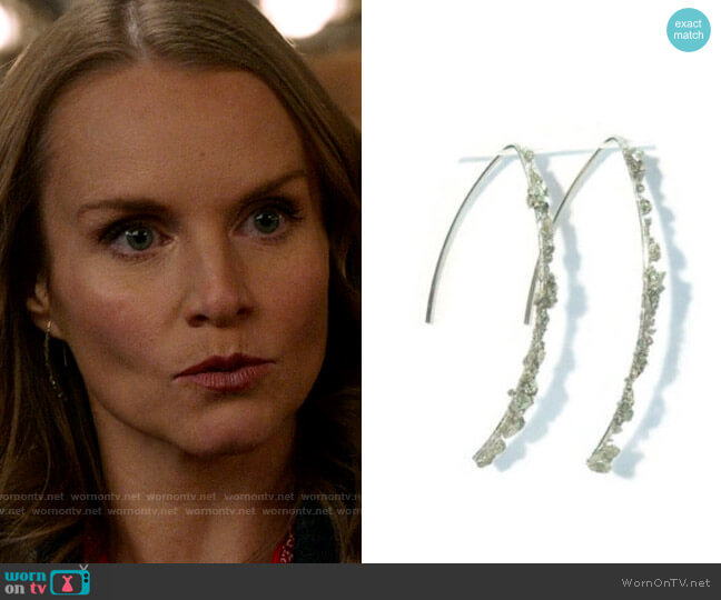 Anjas Arts Crushed Pyrite 14k Yellow Gold Fill Threader Earrings worn by Miss Jenn (Kate Reinders) on High School Musical The Musical The Series