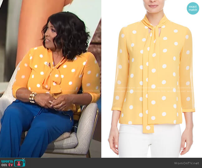 Nathalie Tie-Neck Blouse by Anne Klein worn by Kym Whitley  on E! News
