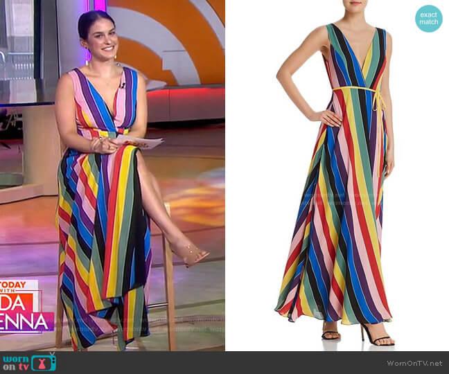 Rainbow Striped Maxi Wrap Dress by Aqua worn by Donna Farizan  on Today