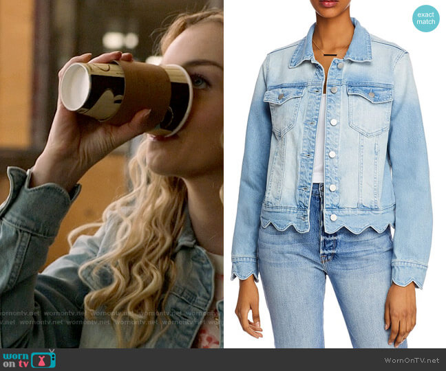 Aqua Scalloped Denim Jacket in Light Wash worn by Lily (Olivia Rose Keegan) on High School Musical The Musical The Series