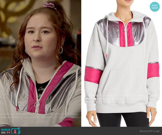 Aqua Half-Zip Hooded Fleece Sweatshirt worn by Ashlyn (Julia Lester) on High School Musical The Musical The Series