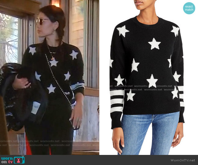 Cashmere Star Sweater With Stripes by Aqua Cashmere worn by Crystal Kung Minkoff  on The Real Housewives of Beverly Hills