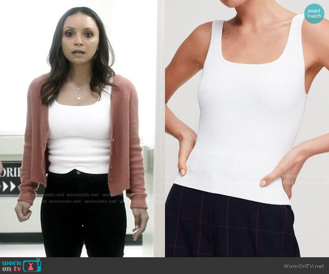Aritzia Wilfred Sculpt Knit Long Tank worn by Cecile Horton (Danielle Nicolet) on The Flash