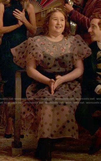 Ashlyn's polka dot puff sleeve dress on High School Musical The Musical The Series