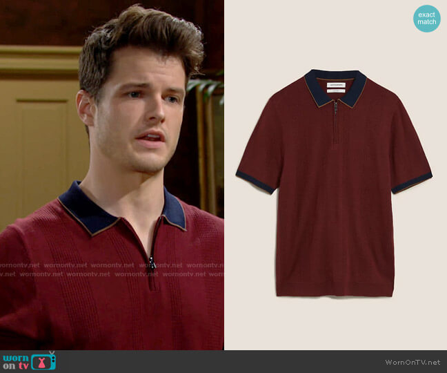 Autograph Textured Knitted Polo Shirt with Silk worn by Kyle Abbott (Michael Mealor) on The Young & the Restless