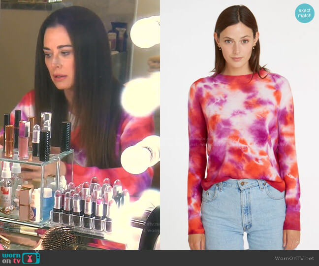 Tie Dye Crew Sweater by Autumn Cashmere worn by Kyle Richards  on The Real Housewives of Beverly Hills