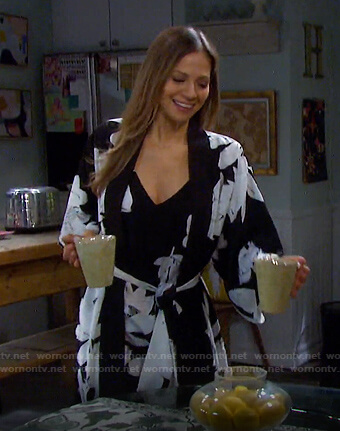 Ava's black floral robe on Days of our Lives