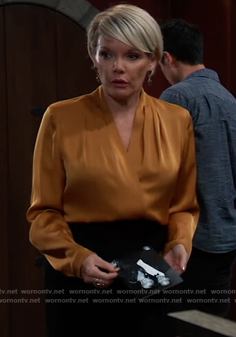 Ava's gold pleated wrap blouse on General Hospital