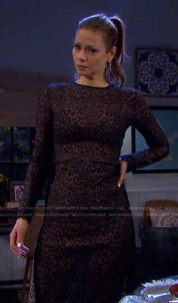 Ava's leopard print long sleeve dress on Days of our Lives