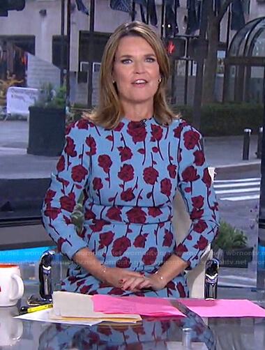 Savannah's blue rose print dress on Today