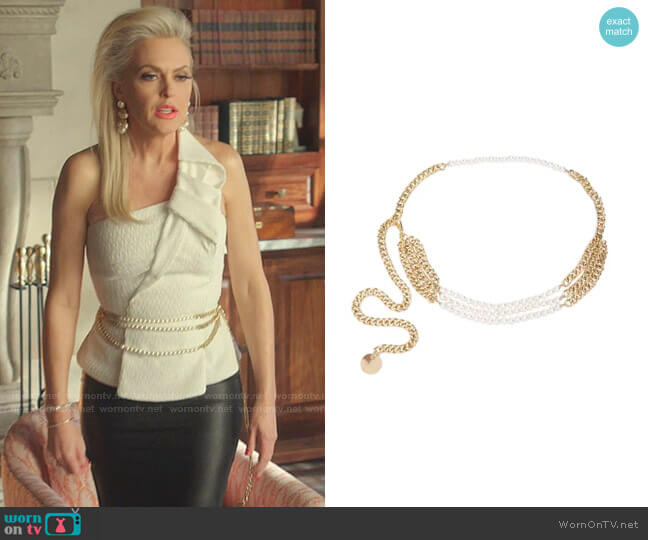 Pearl-Embellished Chain Belt by B-Low The Belt worn by Alexis Carrington (Elaine Hendrix) on Dynasty