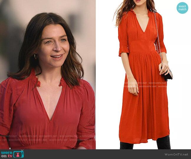 Posita Midi Dress by Ba&Sh worn by Amelia Shepherd (Caterina Scorsone) on Greys Anatomy
