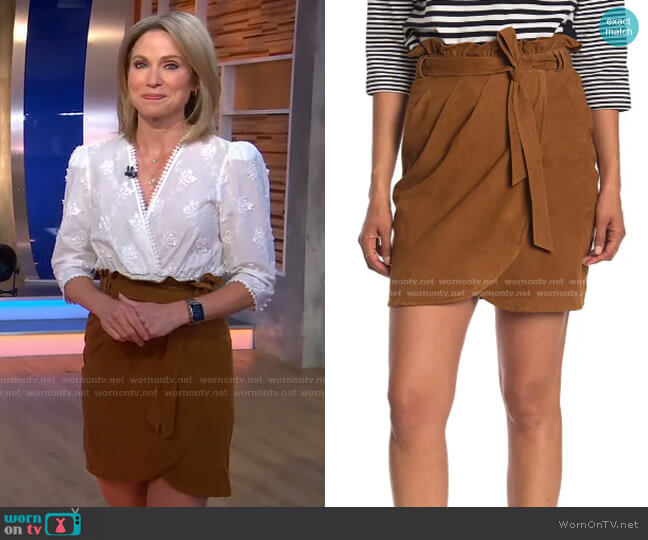Sun Suede Cross Front Skirt by Ba&Sh worn by Amy Robach  on Good Morning America