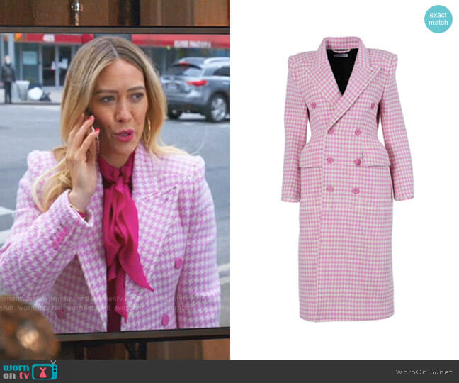 Plaid Double Breasted Coat by Balenciaga  worn by Kelsey Peters (Hilary Duff) on Younger